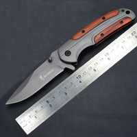 Wholesale browning da43 knife resale online - High quality Browning DA43 Folding Titanium Knife Cr13 Blade fast open Tactical Survival Knives Camping Pocket Tools With Steel Wood Handle