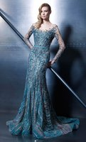 Wholesale Crystal Beaded Wedding Mermaid Dress - Ziad Nakad Long Sleeve Evening Dresses 2016 Long Prom Sexy Party Gowns Beaded Wedding Party Dresses Formal vestido de festa