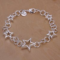 Wholesale Empty Bracelet - Hot sale best gift 925 silver Five empty stars bracelet DFMCH178,Brand new fashion 925 sterling silver Chain link bracelets high grade