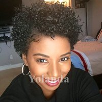 Wholesale Remy Short Curly Wigs - Gorgeous Sexy Afro Curly 100% Indian Human Hair Remy Glueless Lace front Full Lace Wigs Afro Curly Natural Looking Black Color