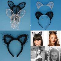 Wholesale Headband Lace Mask - Sex Woman Lady Lace Cat Ear Bunny Headband Mask Carnival Fancy Dress Party Wedding Headbands Hair Accessories Valentine's day