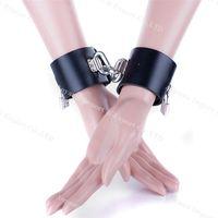 Wholesale Male Bondage Cuffs - Super Heavy Male Female Pu Leather Handcuffs Fetter Shackles Restraint Bondage chains sex toys BDSM Products Newest