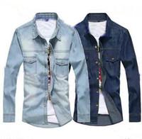 Wholesale Denim Shirt Mens - free shipping new Fashion Mens Thin Jean Slim Long Sleeve Denim Casual Shirt Light Blue Dark Blue
