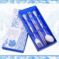 Wholesale Spoon Fork Wholesale - New! free shipping lot colorful blue and white porcelain wedding kitchen tableware spoon fork chopsticks sets for wedding party souvenirs