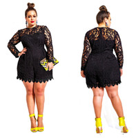 Wholesale Plus Size White Rompers - O Neck Solid Color Hollow Out Long Sleeve Lace Rompers Plus Size Jumpsuit XXL XXXL XXXXL Clubwear Sexy Short Playsuit White Black Rosy Green