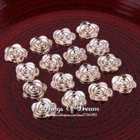Wholesale Acrylic Embellishments - (300pcs lot) 0.6 Inches Rose Gold CCB Rosset Flower Shape Flatback Plastic Button Acrylic Decorative Beads For Embellishment