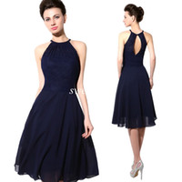 Wholesale Halter Mini Wedding Dress - 2015 Cheap Short Party Dresses Navy Blue Lace Halter Open Back A Line Chiffon Knee Length Cocktail Prom Dress Sexy Wedding Bridesmaid Dress