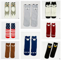 Wholesale Size Kids Legging - 3 Sizes Baby Fox Socks Winter Knee High Cartoon Sock Kids Socks Wholesale Children socks Footwear Star Baby Leg Warmers Girl Legging Socks