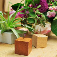 Wholesale Place Cards Wedding Reception - Wooden Wedding Party Reception Place Card Holder Stand Number Name Table Menu Picture Photo Clip Card Holder ZA5477