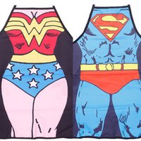 Wholesale Novelty Cooking Aprons - New 2Pcs lot Funny Novelty Sexy Dinner Party Superman Cooking Apron Wonder Woman Men A0851
