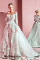 Wholesale Zuhair Murad Lace Bodice - long sleeve lace wedding dresses 2016 zuhair murad bridal gowns off the shoulders 2 piece ball gown wedding gowns