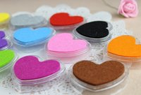 Wholesale Ink Pads For Stamps - Free Shipping 12Colors Mini Heart Shape Craft Ink Pad Colorful Cartoon Ink Pad Self Inking Stamps For DIY Scrapbooking
