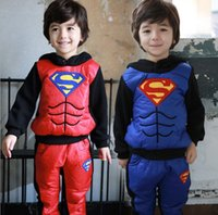 Wholesale Superman Outfit For Kids - 2015 Winter Clothing Sets For Boys Superman Cartoon Kids Sports Suit Long Sleeve Hooded Thicken Keep Warm Children Outfits 100-140 H971