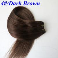 Wholesale Dark Brown India Hair - Brazilian hair bundles 100% human hair wefts 100g 20inch #4 Dark Brown Straight hair bundles tangle free India hair extensions