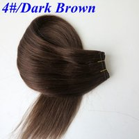 Wholesale hair extensions india for sale - Group buy Brazilian hair bundles human hair wefts g inch Dark Brown Straight hair bundles tangle free India hair extensions