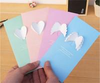 danke grußkarte großhandel-Dreidimensionale Flügel kreativ faltende Minigrußkarte Wedding Dank-Mitteilung Geschenkkarte Geburtstag Valentinstaggrußkartensegen