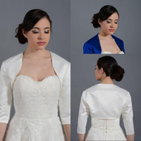Wholesale Sleeve Satin Bridal Bolero Ivory - Cheap Satin Bolero Jacket for Party Evening Prom Dresses Bridal Jackets With Sleeves Evening Wraps Royal Blue Ivory Stain Bolero Jacket