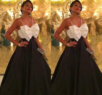 Wholesale Womens Club Wear For Sale - 2016 Ankle-Length Black and White Satin Party Dresses Evening Guest Gowns For Womens Hot Sale Cheap Spaghetti New Formal with Bow Knot Gowns