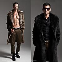 Wholesale men s leather parkas - Wholesale- Men Fur Coat Winter Faux Fur Wear On Both Sides Coat Men Punk Parka Jackets Full Length Leather Overcoats Long Fur Coat