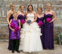robe demoiselle d'honneur plissée violet achat en gros de-Bling paillettes longues robes de demoiselle d'honneur pourpre Sweetheart plissé devant fente robe de soirée de mariage étage longueur 2016 robes Madrinhas