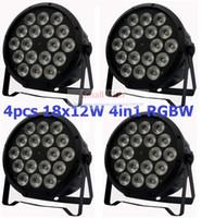 Wholesale Led Par Lights For Sale - Wholesale-4xLot Sale 2016 18x12W RGBW Led Par Light DMX Stage Lights Business Lights Professional Flat Par Can for Party KTV Disco DJ Lamp