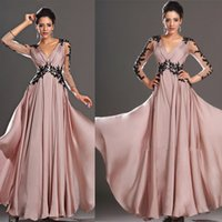 2016 Wunderschöne arabische Kaftan Blush rosa prom Kleider Illusion lange Ärmel Spitze Applique Party Abendkleider Ballkleid Lady Formal Outfits