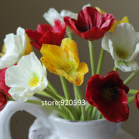 Wholesale Real Touch Flowers Poppy - HOT VIVID 99pcs lot Colorful PU real touch artificial corn poppy silk decorative flowers for home and wedding flowers bouquet decoration
