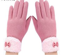 Wholesale Leather Gloves Bows - New Arrival Women Winter Gloves Screen Sensor Fittness with Leather Bow Lace Elegant Warm Mittens Fashion Female Sensor Guantes