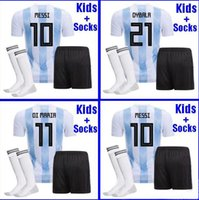 Wholesale rugby shirts xxl - Argentina KIDS football Jersey 2018 Argentina boys youth kits DYBALA Messi kun Aguero Di Maria Child football shirt uniform with socks