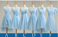 Wholesale Dress Instock - Instock Mix Style Cheap Light Sky Blue Chiffon Short Bridesmaid Dresses 2015 Ruffles A Line Bridesmaid Dresses under 50