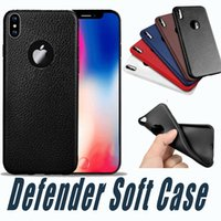 Wholesale Texture Phone - Ultra-thin Defender Soft Case For iPhone X 8 7 6 6S Plus TPU Silicone Anti Slip Leather texture Phone Cases Cover