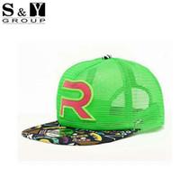 Wholesale Women S Sun Hats Wholesale - Wholesale-S&Y Brand R Mesh Cap Snapback Bone Hip Hop Baseball Cap Unisex Swag Men Rockstar Hat Summer Sun Hat For Men And Women 4Colors