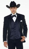 batı smokedoları toptan satış-Toptan-5 parça (jakcet + pantolon + papyon) Notch yaka Batı Kovboy Tarzı Damat Giyim smokin İyi Adam Düğün Damat Adam vestido için Suits