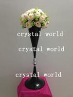 ingrosso supporto nero portacandele in metallo nero-Portacandele in metallo color ferro da 70 cm con supporto per fiori, centrotavola portafiori da sposa