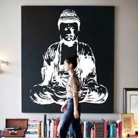 Wholesale Large Buddha - Art new Design Indian Buddha religion Wall Decal removable Vinyl Sticker home decor Mural room decoration God Asian yoga namaste