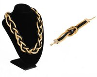 Wholesale Womens Jewelry Chunky Bib Necklaces - Lots 10 Set Womens Chunky Braided Mesh Chain Twist Knit Collar Bib Statement Necklace Bracelet Set Bohemian Jewelry Set