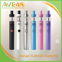 Wholesale Ego Black Stainless - Authentic Kangertech Subvod Starter Kit Kanger Subvod Kits 2300mAh Stainless Steel Organic Cotton Coils Vs SMOK Xcube 2 eGo One EVOD MEGA