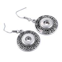 Wholesale Diy Ear Rings - 2016 hot antique silver Noosa Earrings women earring studs alloy chunk button snap 12mm DIY Interchangeable ear rings