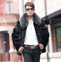 Wholesale Marten Collars - Fall-Free shipping Male 2015 imitation fur coat mink marten fur overcoat male fight mink men's clothing fur collar fur coat