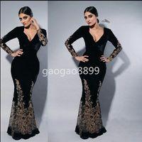 nakış dantel gece elbisesi uzun kol toptan satış-Myriam Fares Siyah Uzun Kollu Örgün Parti Abiye giyim Giymek Kakma Altın Dantel Nakış V Yaka Mermaid Dubai Arapça Balo Durum Elbise