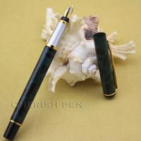 Wholesale Ink Cyan - Inexpensice Office Gifts BAOER 801 Fancy Cyan Black Polished Golden Arrow Clip M nib Steel Ink Fine Fountain pen Free shipping