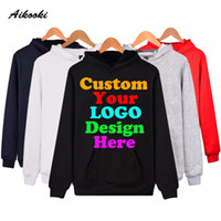 Wholesale printing text - Wholesale- Custom Hoodies Logo Text Photo Print Men Women Kids Personalized Team Family Customize Sweatshirt Promotion AD Apparel Clothes