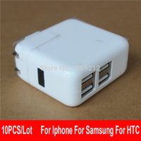 Wholesale-10pcs / lot USA CA Stecker Vier-Port-USB-Adapter für Iphone 4S 5 5C 5S für HTC G5 G6 G7 G8 für Samsung-Adapter-Adapter-Ladegerät