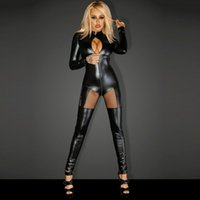 Sexy Shiny Vinyl Leather Lingerie Catsuits Women Black Hollow Out Front  Jumpsuit Plus Size Cut Out Split Leotard Overalls XXL 2018 292ffb116