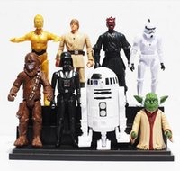 Star Wars 8pcs / set della moda Darth Maul Darth Vader R2-D2 Yoda Stormtrooper Chewbacca C-3PO in PVC Figure Giocattoli