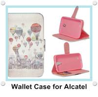 alcatel tek dokunmatik flip durumda toptan satış-Vintage Çiçek Cüzdan PU Deri Flip Standı Telefon Kılıfı için Alcatel One Touch Pop C3 / C7 / C9