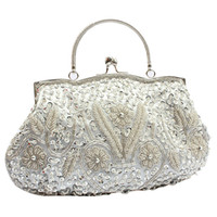 Wholesale Silver Clutch Bags For Prom - Wholesale-New Trend Womens Brand Fashion Satin Beaded Handbag Wedding Party Prom Clutch Purse Evening Bag for Women Girls