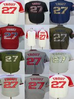 Wholesale Quality Outlet - Factory Outlet Mens Womens Kids Toddlers Los Angeles 27 Mike Trout Best Quality Cheap Beige Black Blue Flag Green Grey Baseball Jerseys