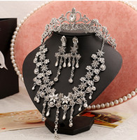 Wholesale Earring Necklace Tiara Set - 2015#H0019 Bridal Headband Clear Austrian Rhinestone Crystal Necklace Earrings Set Bridal Crown Tiara Wedding Jewlery Hot Selling