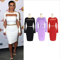 Wholesale Kim Kardashian S Black Dresses - New Slinky Bodycon Casual Dresses Kim Kardashian Dresses Sheer Patch-work Long Sleeves Pencil Party Night Out & Club Dresses